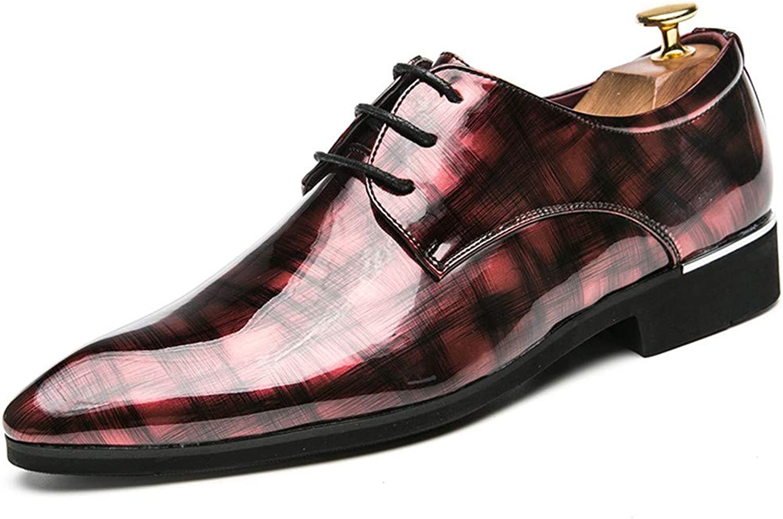 JIALUN-Schuhe Herrenmode Business Oxford Casual Persönlichkeit Mode Retro Pinsel Farbe Atmungsaktive Lackleder Formelle Schuhe (Farbe   Rot, Größe   43 EU)  | Reparieren