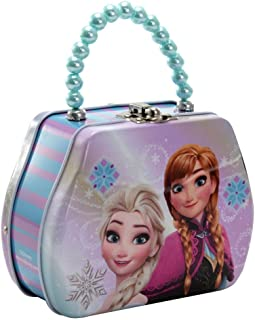 Disney Frozen Anna & Elsa Kids Lunch Boxes Frozen Purse Shaped Beaded Handle Tin Box, Reusable Stylish Metal Food Snack Storage Container for School & Travel, Preschool & Toddler Girls Play