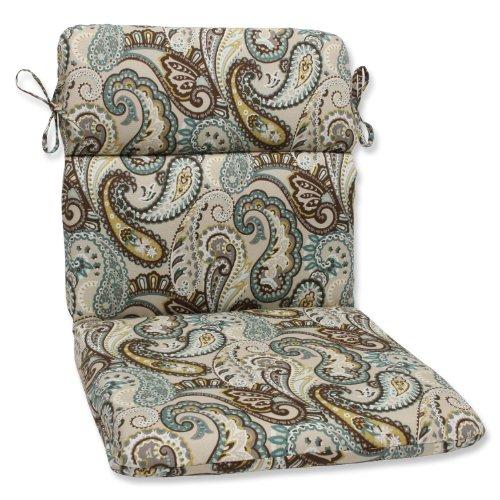 Pillow Perfect 537078 Outdoor/Indoor Tamara Paisley Quartz Round Corner Chair Cushion, 40.5' x 21', Blue