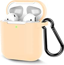 AirPods Case, Coffea Protective Silicone Cover Skin with Keychain for AirPods 2 Wireless Charging Case [Front LED Visible] (Apricot)