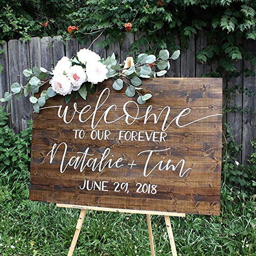 buythrow Welcome to Our Forever Wedding Sign,Rustic Wedding Welcome Sign,Wedding Sign Personalized Name and Date,Bridal Shower Sign,Country Wedding Decor,16x24