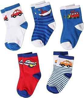 Calcetines de algodón con patrón de Coche para niños pequeños y Grandes para niños pequeños -5 Pares 2019 Los Mejores Regalos