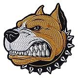 EMDOMO T Bordado Cabeza de Perro Parches de Hierro en Bordado Apliques de Bordado para Chaqueta de Motor T-shirt Decorado DIY Craft 1 Pieza