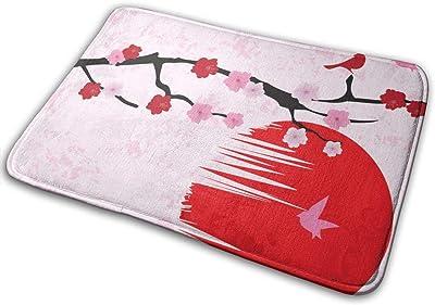 """Cherry Blossom BirdsDoormat Rug Indoor Bathroom Kitchen Absorbent Non-Slip Door Mats Home Decor 23.6""""(L) x 15.7""""(W)"""