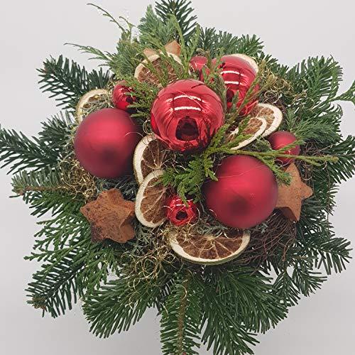 Bouquet de fleurs « Magie de Noël », bouquet élégant fait main, avec boules en verre rouge
