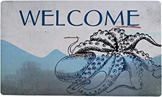 "Welcome Doormat, Entrance Mat Floor Mat Rug Indoor Outdoor Front Door Mat with Non-Slip Rubber Backing, Printing Door Mat with Octopus Pattern, 17""WX29""L (Welcome Mat)"