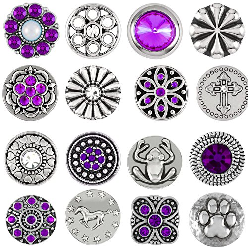 Mini Small Button Druckknöpfe Petite Klick clicks Armband kompatibel mit Chunks Silber Farben Damen Modele 12mm Sterne Strass steine zirkonia auswahl Schmuck 12er set (12mm Petite Click Button, EWS)