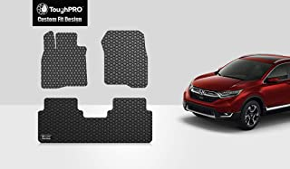 ToughPRO Floor Mats Set (Front Row + 2nd Row) Compatible with Honda CR-V - All Weather - Heavy Duty - (Made in USA) - Black Rubber - 2017, 2018, 2019, 2020