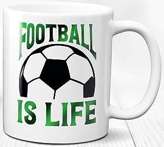 Taza de café El fútbol es vida 330 ml Regalo para deportistas deportivos Taza de cerámica para amantes del fútbol