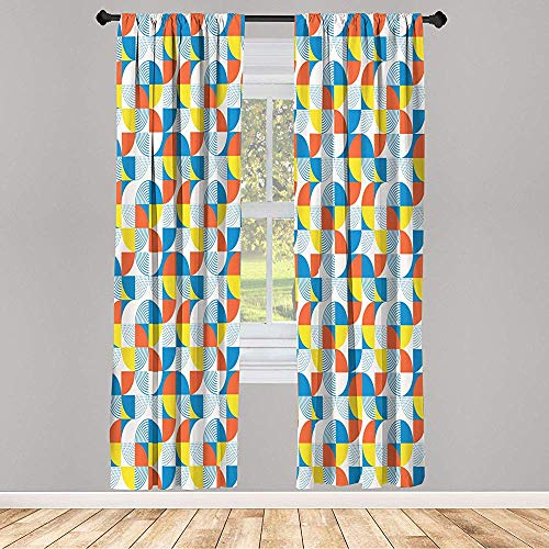 Cy-ril Juego de 2 Cortinas Opacas Paneles inspirados en Bauhaus, Formas Circulares entrecruzadas de Bloques de Color y líneas punteadas 52 x 72 Pulgadas, Multicolor