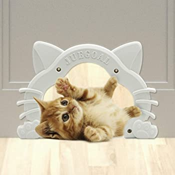 Juegoal Interior Cat Door Kitty Shaped Hole Pet Door for Cat and Small Pets, Fits Inside Door Hides Litter Box Furniture