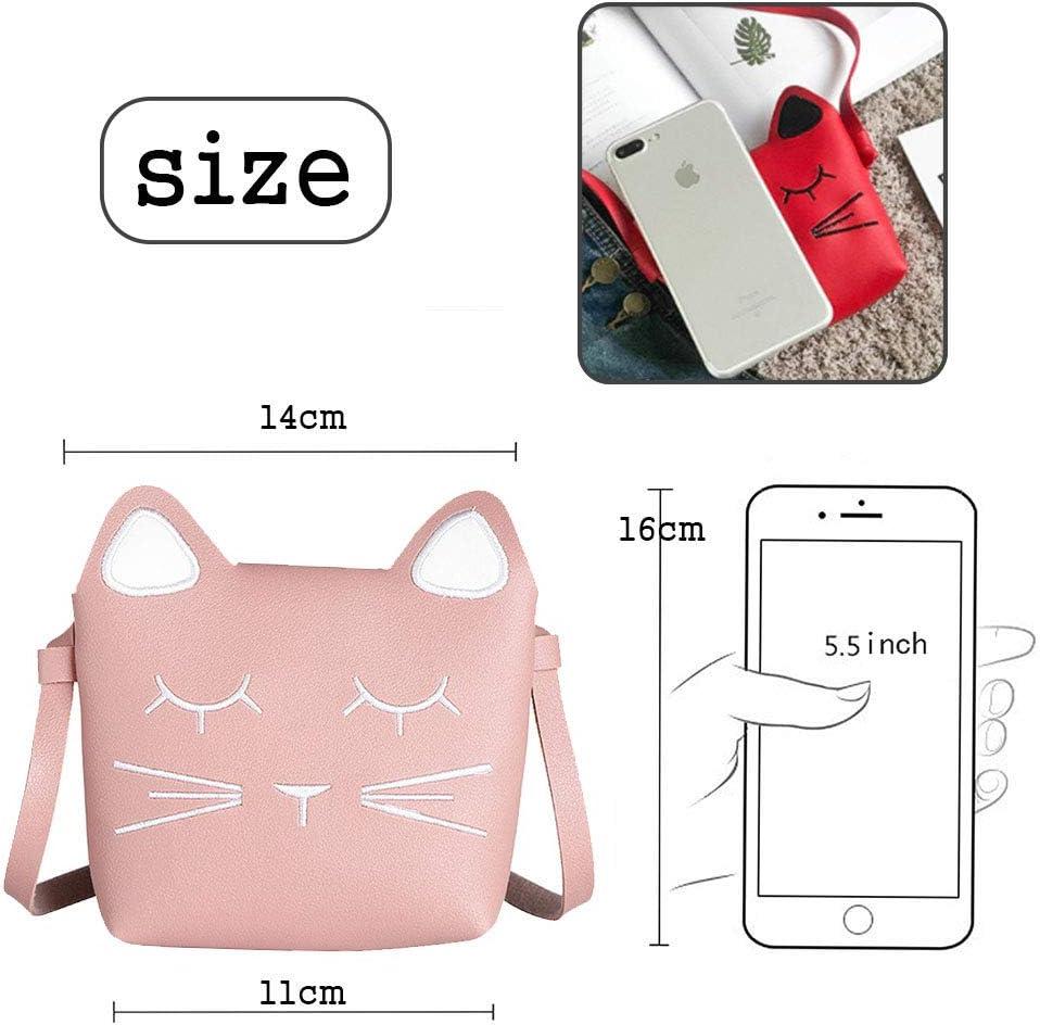 whatUneed Bolso del bolso del bolso de hombro de las ni/ñas lindas mini bolsos de la princesa bolso del mensajero del cuerpo cruzado del gato