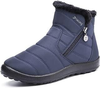 Botas de Mujer Otoño Invierno Goma Forro de Piel Punta Redonda Botas de Nieve Zapatos de Trabajo Calzado Antideslizante Ligero Botines Caminan