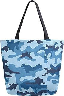 ZZKKO ZZKKO Einkaufstasche aus Segeltuch, Marineblau, für Damen, Lehrer, Camouflage, Baumwolle, Einkaufstasche, Handtasche, wiederverwendbar, Mehrzweck-Verwendung, Marineblau