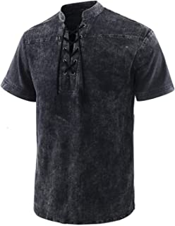 Mens T-Shirt Casual V Neck Cotton Half Sleeve Drawstring Tee Hippie Shirts Holiday Tops,Tie-dye long-sleeved coat (Color :...
