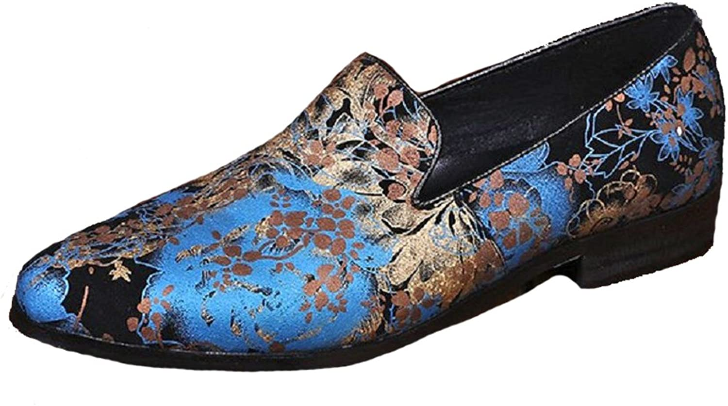 2 color Size 5-12 New Floral Print Genuine Leather Dress Loafers Mens shoes Black
