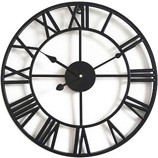 Taodyans Horloge murale silencieuse vintage avec chiffres romains sans tic-tac, en métal - Décoration d'intérieur pour sal...