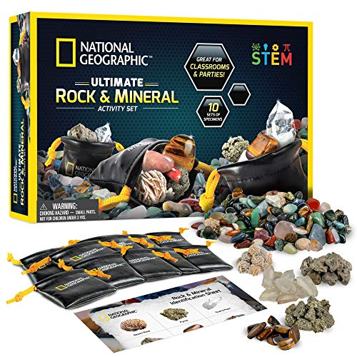 NATIONAL GEOGRAPHIC Rock Party Set – 1.25 Lb Assorted Rocks & Gemstones, 10 Specimens Each of Pyrite, Desert Rose, Quartz, Pumice, & Tiger'S Eye, 10 Individual Carry Bags & Identification Guide