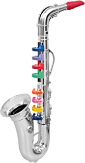 Click N` Play Saxophone with 8 Colored Keys, Metallic Silver