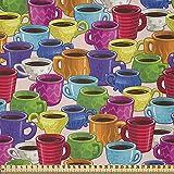 ABAKUHAUS Vistoso Tela por Metro, Vintage House Café, Microfibra Decorativa para Artes y Manualidades, 1M (230x100cm), Multicolor