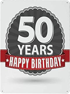 ALUONI 50th Birthday Decorations Modern Tin Painting,Retro Label Red Ribbon Classical Old Fashioned Celebratory for Club,12''W x 15''H
