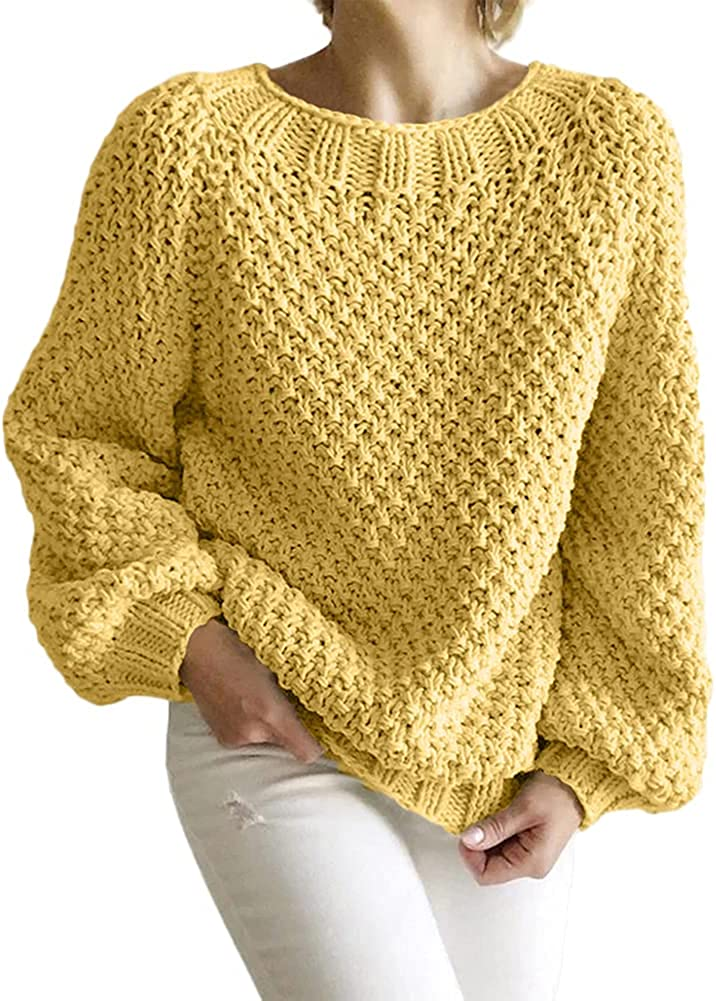 Aoysky Womens Chunky Max 58% OFF Ranking TOP4 Knitted Crewneck Pullover Sweater Oversized