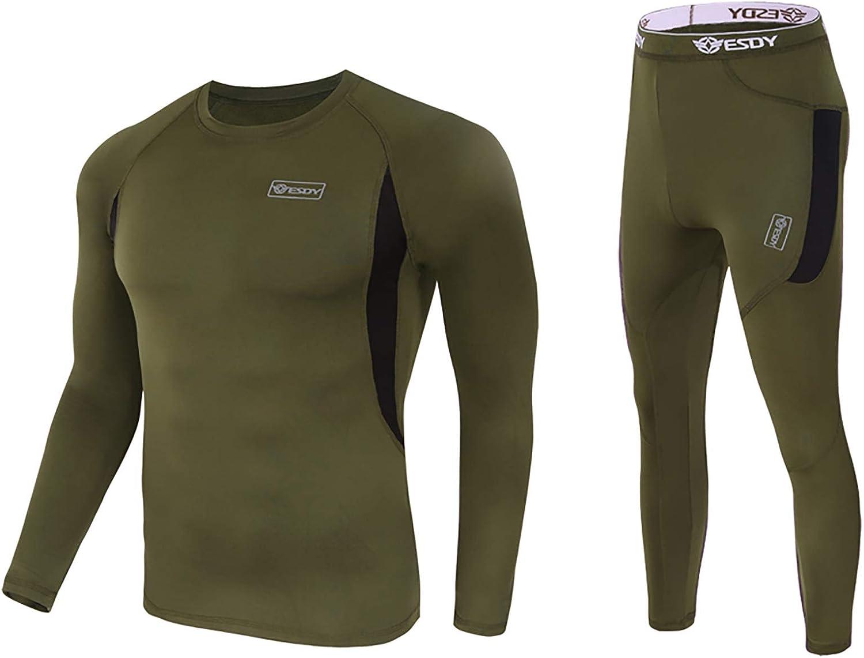 inhzoy Men's Thermal Underwear Set Winter Base Layer Long Johns Set Top and Bottom Athletic Sportwear