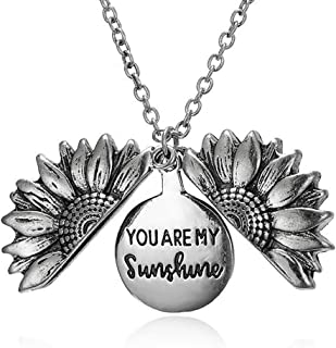 starchenie Sunflower Locket Necklace You are My Sunshine Pendant for Women Girls