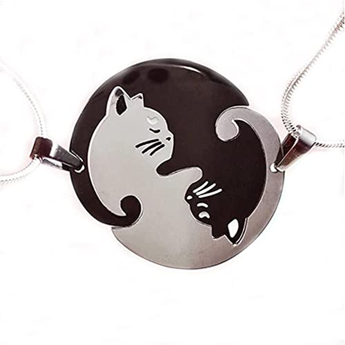 SL 2pcs Too Adorable Missing Puzzle Women Men Stainless Steel Beloved Romantic Personalized Cat Necklace Statement