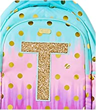 Justice School Backpack Dot Ombre Foil Initial (letter T)