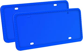 LivTee Silicone License Plate Covers & Frames, Universal American Auto Accessory License Plate Frame Holder, Rust-Proof, Rattle-Proof, Weather-Proof, Blue
