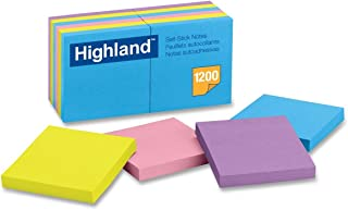 Highland Notes, 3 x 3-Inches, Assorted Bright Colors, 12-Pads/Pack
