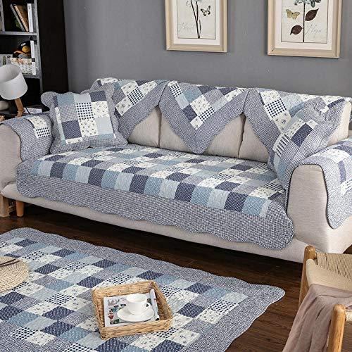 Chaise Longue/Banco, funda protectora de sofá estilo país, funda de sofá de algodón rural, fundas de sofá para sofá esquina/sofá en forma de L, gris_azul_90*160cm