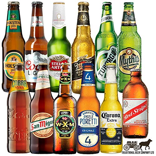 Lagers Of the World - case of 12 bottled beer An ideal Christmas beer gift for men and women - by Traditional Beer Company