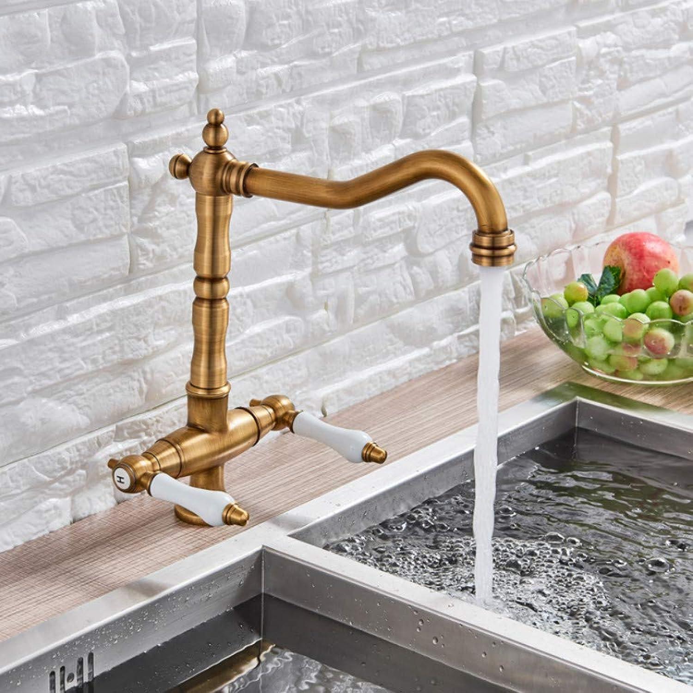 Lddpl Wasserhahn Dual Keramikgriff Spüle Wasserhahn Einlochmontage Antik Messing Kalt- Und Warmwasserhahn Schwenkauslauf Küchenmischbatterie