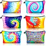 6 Pieces Tie Dye Makeup Bag Cosmetic Organizer Travel Cosmetic Bag Waterproof Toiletry Pouch with Zipper Multipurpose Toiletry Bag for Women Girls Travelling Favors, 6 Styles
