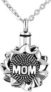 Urn Necklace for Ash Love Heart Sunflower Cremation Pendants Gift for Mom Dad Family Friends
