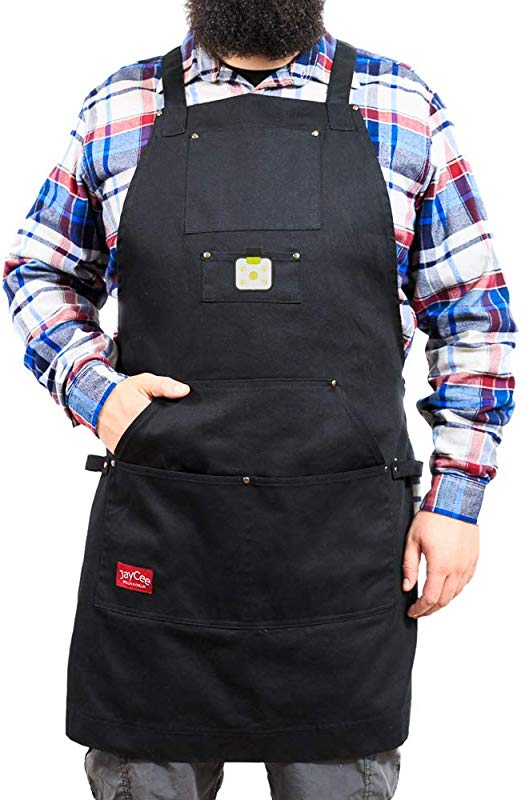 The Ultimate Apron With LED Flashlight For BBQ Grill Chef Work And Hobby 5 Pockets 1 Hoodie Style Cross Back Design Quick Release Buckle 2 Towel Tool Loops 10 Oz Cotton For Comfort Men Women