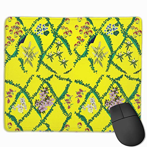 Gelbe Pflanze Rutschfeste Personalisierte Designs Gaming-Mauspad Schwarzes Stoff Rechteck Mousepad Art Naturkautschuk-Mausmatte Mit Genähten Kanten