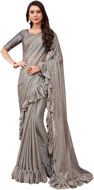 Grey Indian Ethnic Designer Saree Ruffle Border Multifabric Sari with Blouse piece Women Party wear 7770