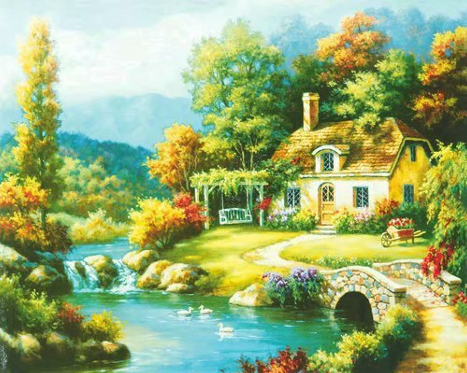 Tonzom Diamond Painting Kit DIY 5D Rhinestone 12 x 16 inches Canvas Full Drill Paint by Numbers for Kids and Adults Beginner with Stitch Pen  Countryside Cottage