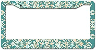 Dad of LP Frame Teal Linen Mandala Fun Personalise American Frames License Plate - UV Water Resistant for All America & Canada Standard Strong Securing Clips Included