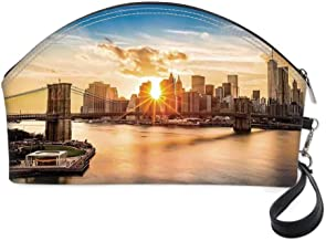 NYC Decor Small portable cosmetic bag,Cityscape of Brooklyn Bridge and Lower Manhattan Hudson River Center of Fashion Art and Culture for Women,10.8
