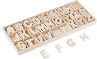 Baosity 156 Pieces Small Wood Letters Wooden Alphabets Letter Craft Pieces with Storage Tray Kids Learning Toys Wedding Ta...