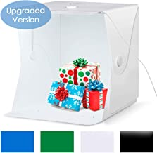 Amzdeal Portable Photo Studio 16x16 Inch LED Light Box Table Top Photography Shooting Kit with 6000-6500K Adjustable LED Strip+Metal Frame+4 Backdrops(Black/White/Blue/Green) (16 Inch)