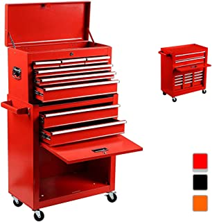 Rolling Tool Box 2 in 1 Versatile Tool Chest with 8 Drawers and 4 Wheels, Lockable Tool Cabinet Sturdy Tool Storage Box for Garage and Workshop,Red