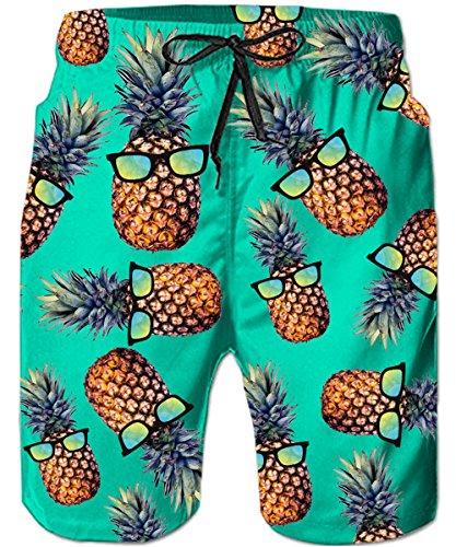 TUONROAD Herren Badehose Bermuda Lustig Pineapple Brille 3D Druck Kurze Hose Sommer Schnelltrocknend Bunte Badehosen für Männer mit Mesh Futter und Verstellbarem Tunnelzug Bademode Surf Shorts -XL