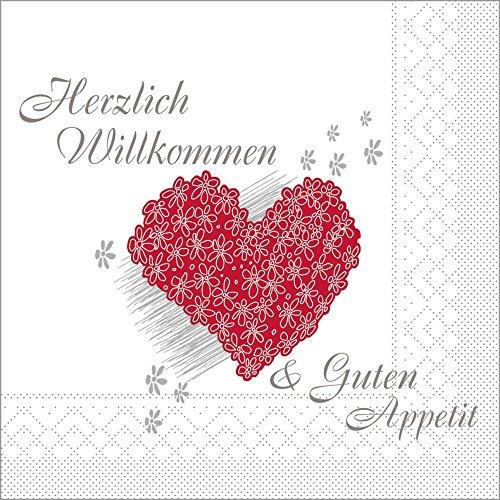 Sovie HORECA Serviette Herzlich Willkommen   Tissue 33x33 cm 100 Stück   ideal für Hochzeit Veranstaltung Gastronomie
