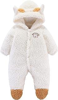 الوليد الطفل جير بوي الملابس رومبير الرضع الشتاء الدافئ أطفال بذلة الزواحف (Color : White, Size : 6M-NO66)