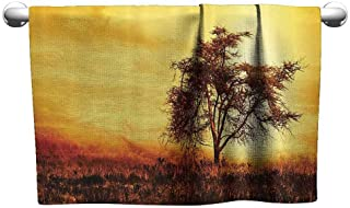 DUCKIL Personalized Hand Towels Room Decorations Collection Big Tree Silhouette Image of Nature at Africa Summer Evening of Masai Mara Image Bath Towel 55 x 27 inch Yellow Khaki